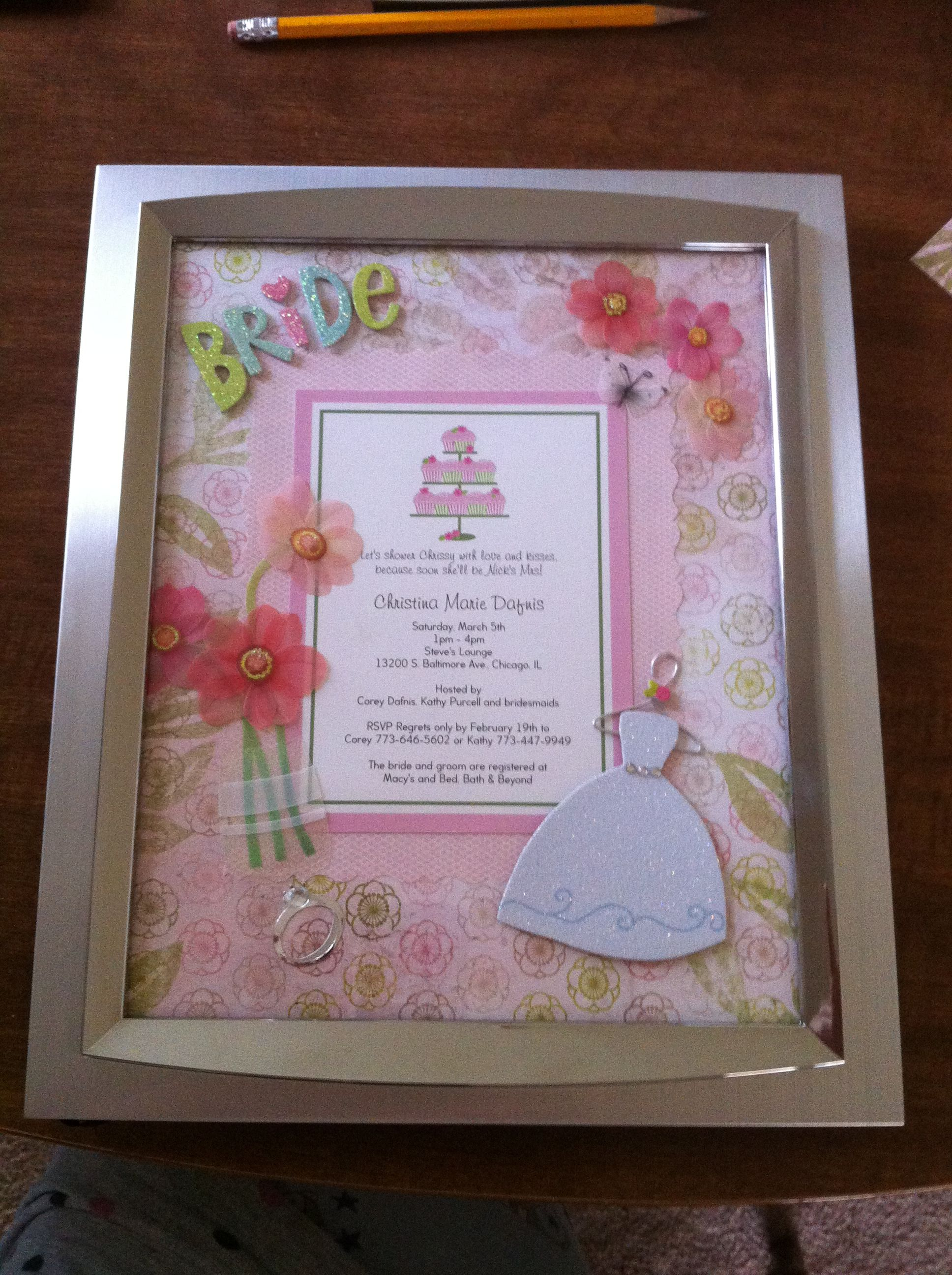 Wedding Shower Gift Ideas Pinterest : Bridal Shower gift/keepsake Gift ideas Pinterest