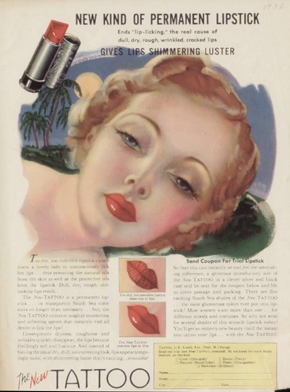 Vintage makeup ad | Lipstick, powder and paint | Pinterest