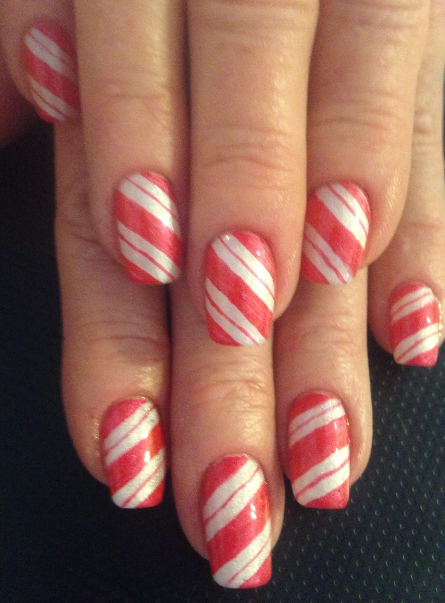 Candy cane stripes nail art nails pinterest