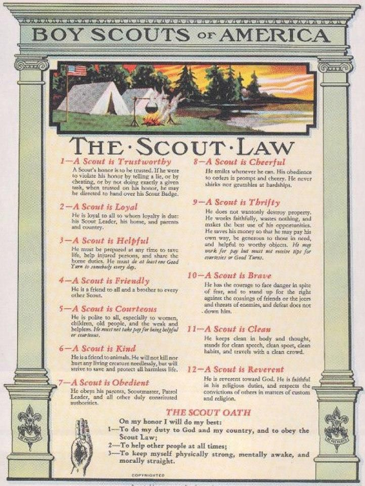 This is a photo of Revered Boy Scout Oath and Law Printable