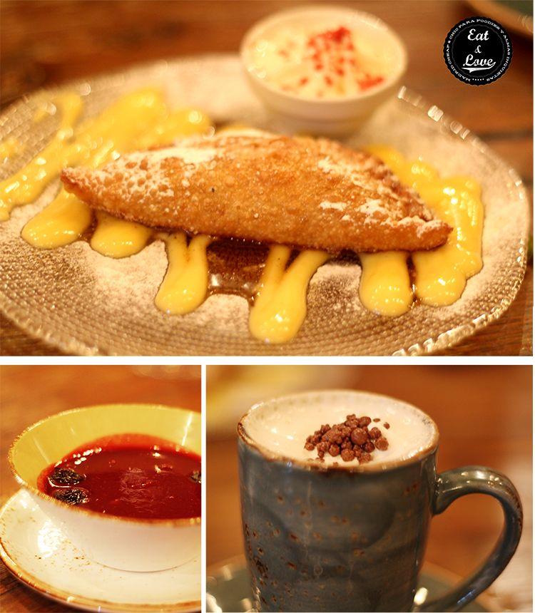 Fried apple pie con crema inglesa, muk dulce de cerezas y garrapiñadas, y chocolate a dos temperaturas, baileys y nata semimontada - Tartan Roof - azotea Círculo Bellas Artes - Madrid