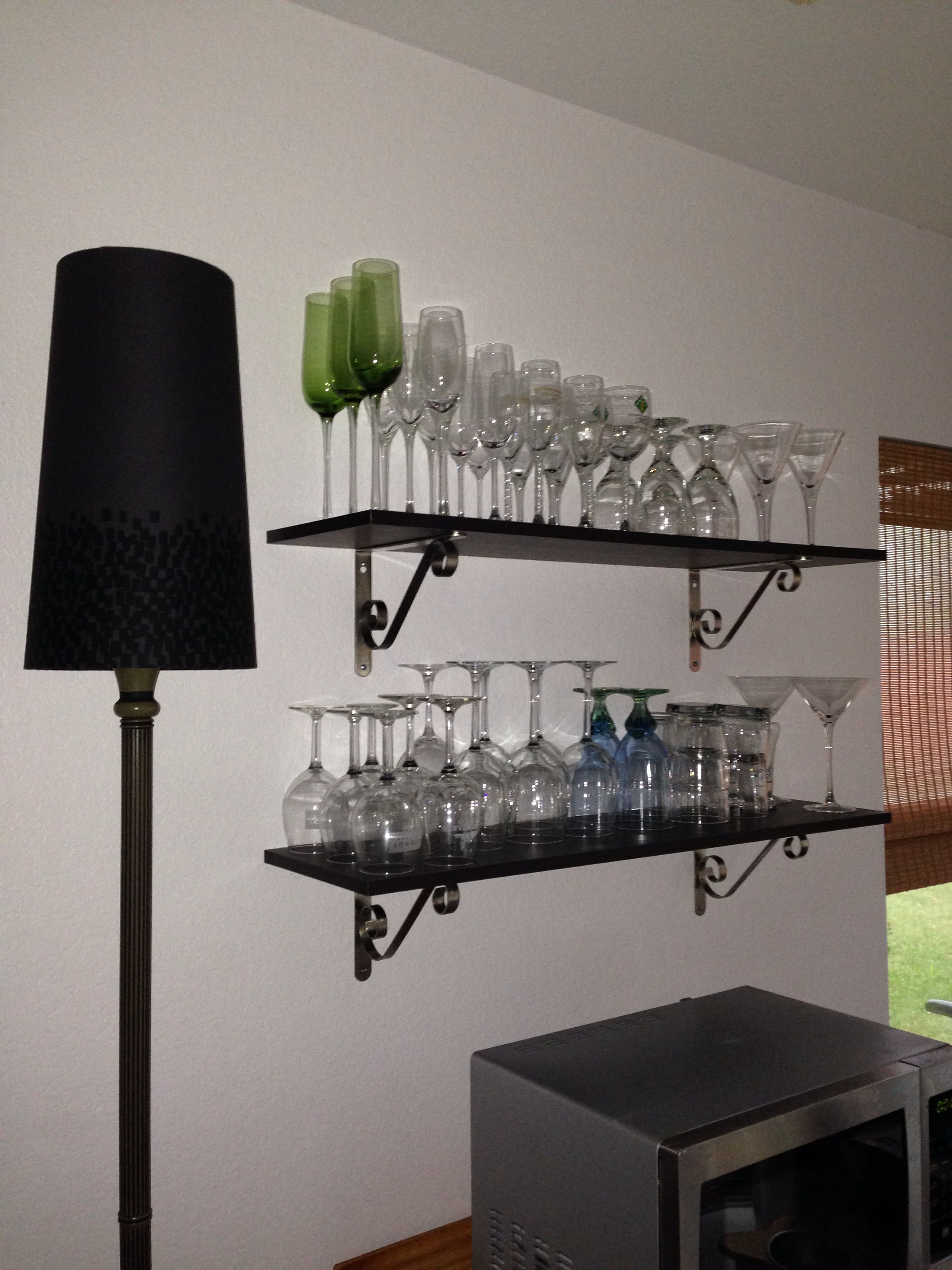 Diy wine glass shelves future kitchen remodel pinterest