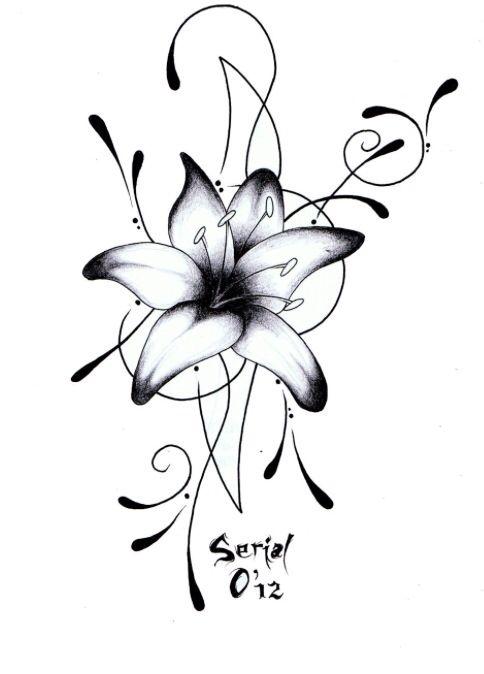 Dessin pour tatouage lys tatouage pinterest - Fleur rose dessin ...