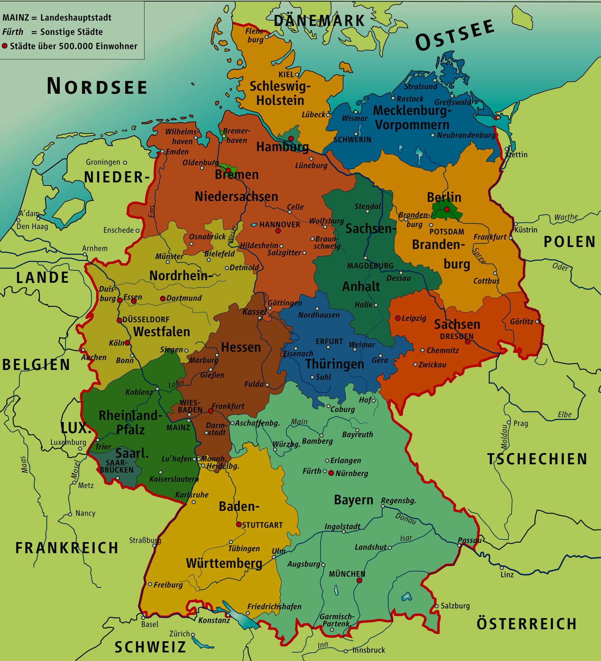 Map Of Germany With Cities Deutsch Bitte Pinterest