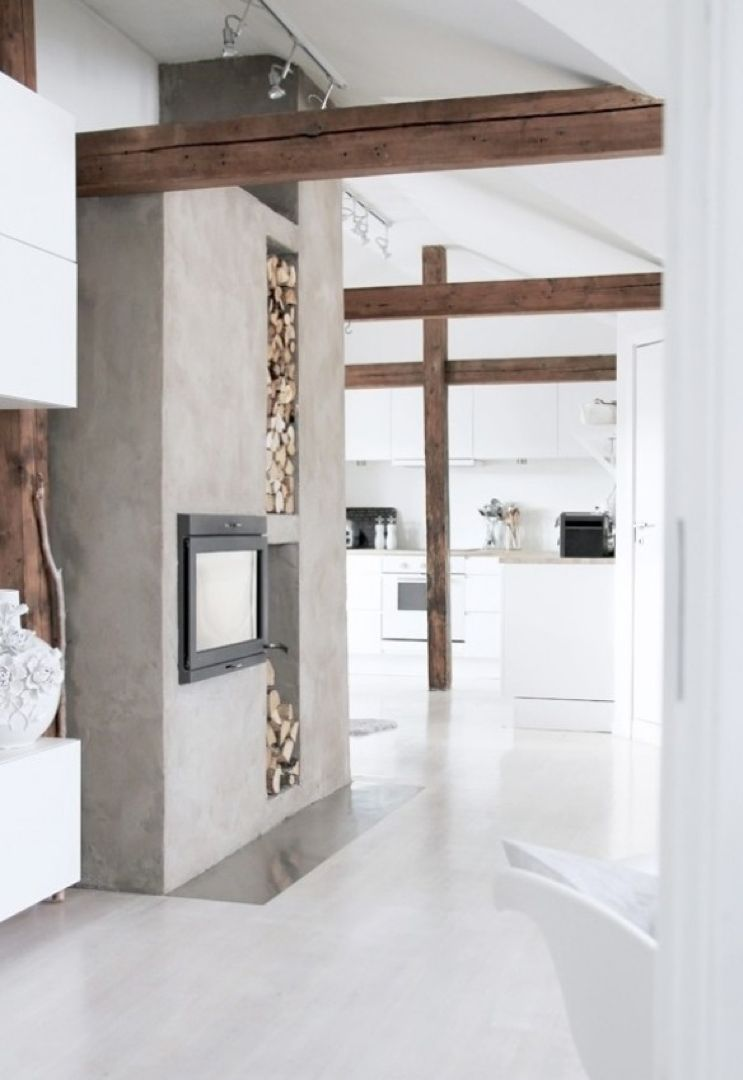 Fireplace In Concrete Wood FIREPLACES Pinterest