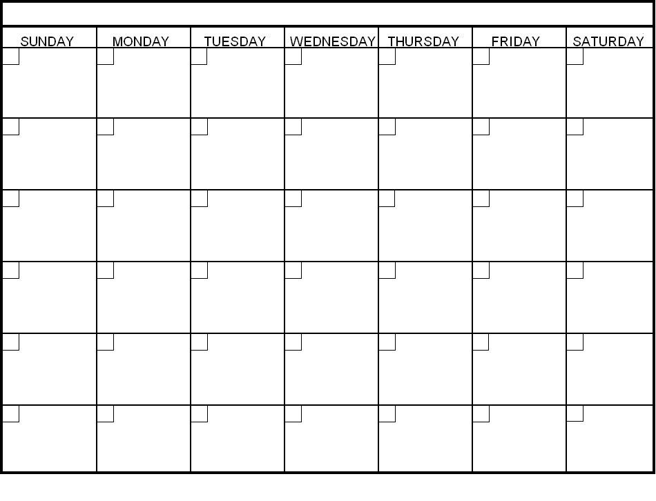 Blank Calendar 30 Days Weekly Calendar Daily Form – Days of the Week Calendar Template
