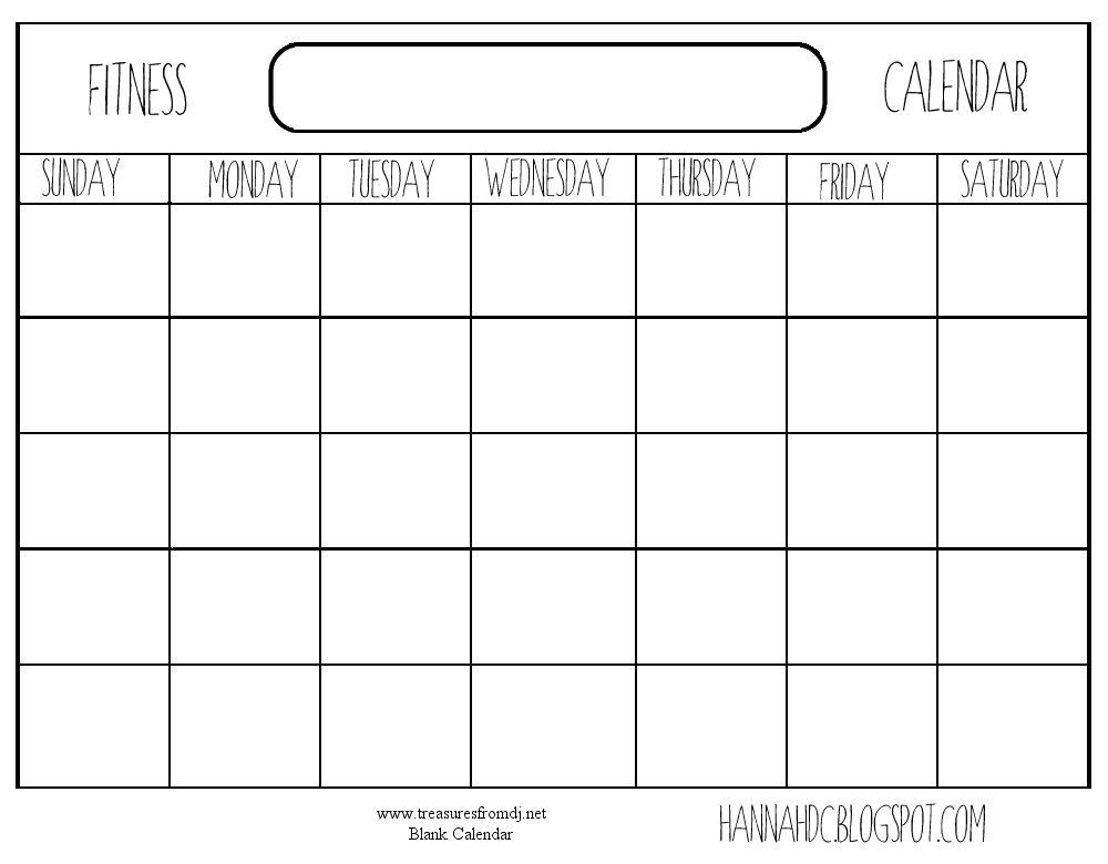 Blank Exercise Calendar – imvcorp