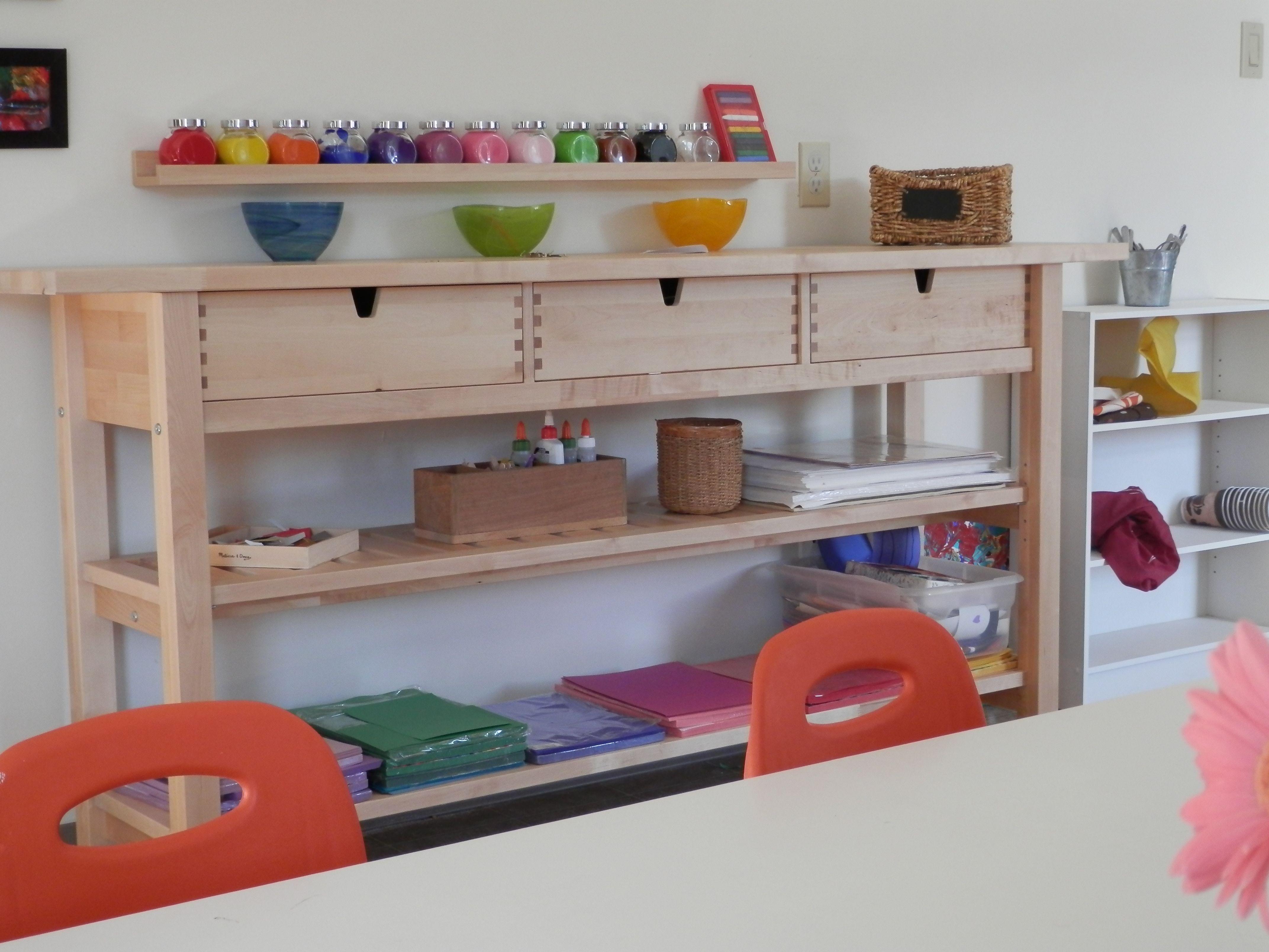 Art area preschool environment pinterest for Ikea daycare furniture