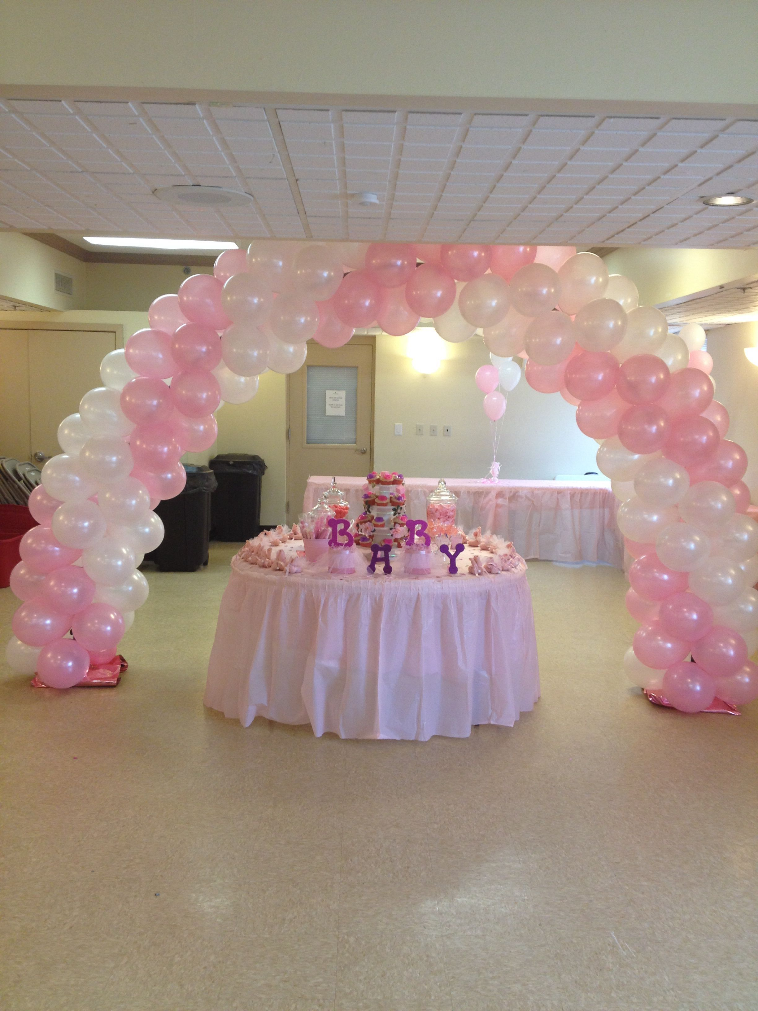 baby shower balloon arch and sweet table baby shower party ideas