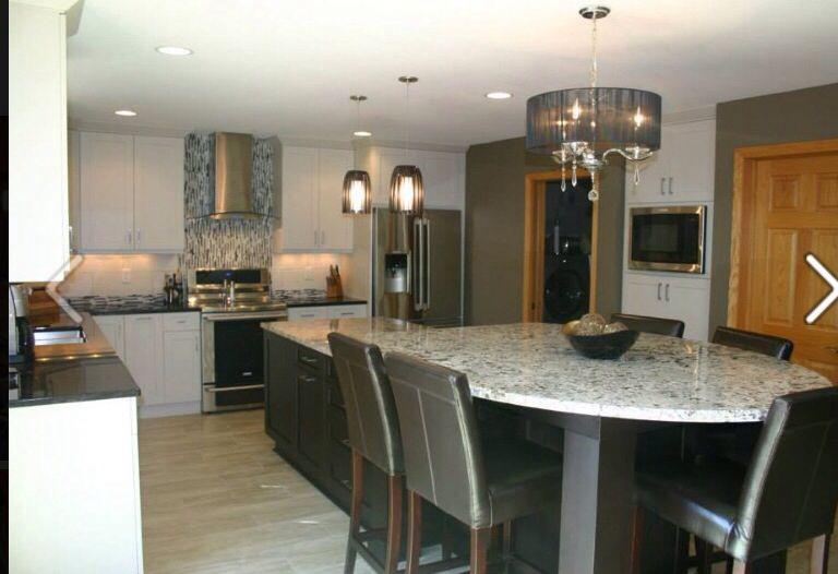 White cabinets oak trim  Dwelling  Pinterest