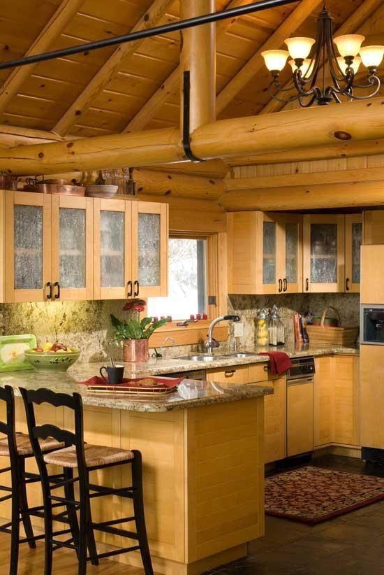 Log cabin  kitchens  Pinterest