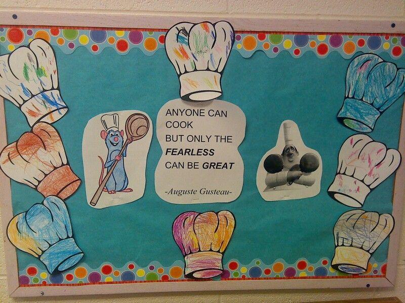 Cooking theme bulletin board kids pinterest for Bulletin board ideas for kitchen