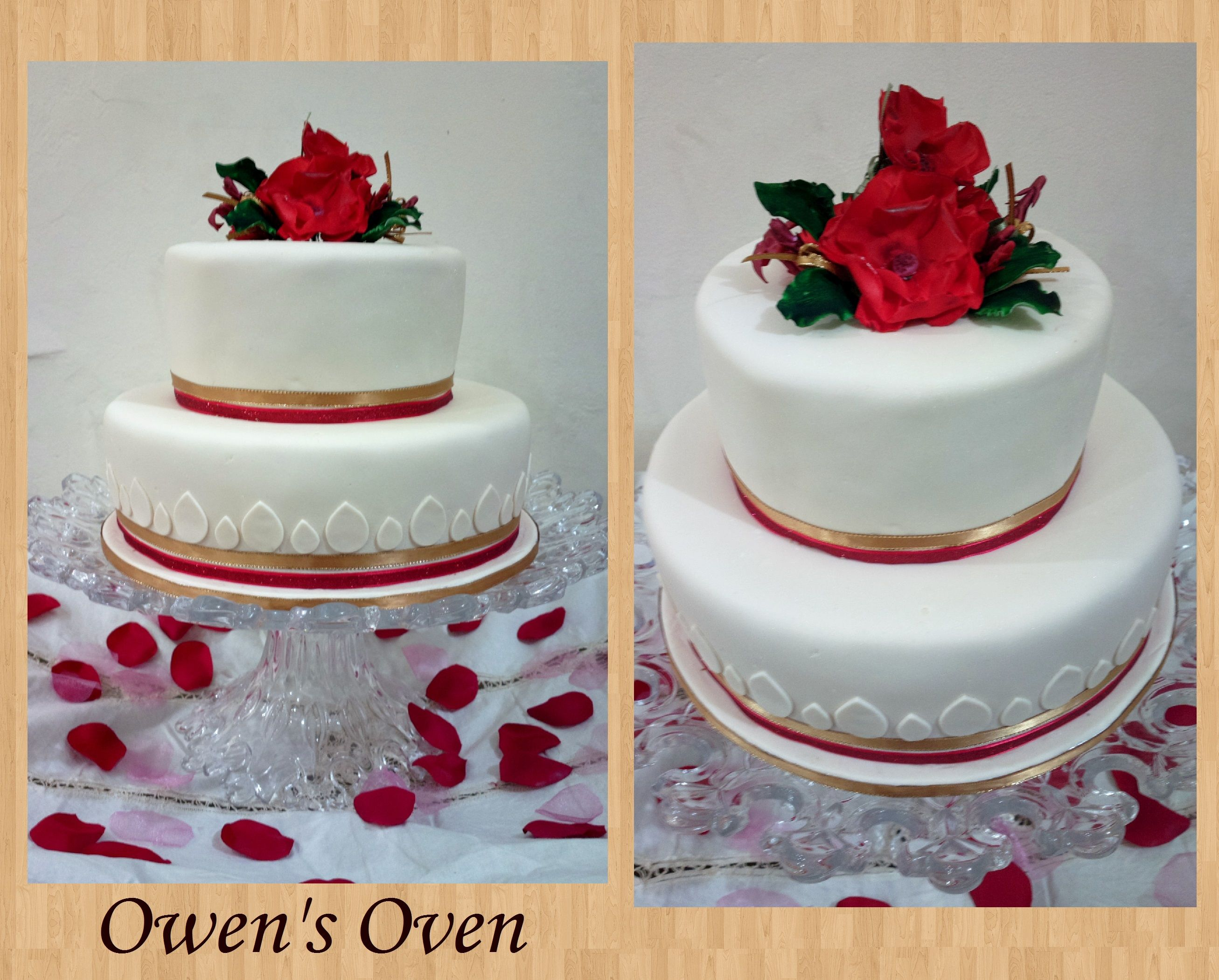 Ivory Gold and Red wedding Cake Cakes