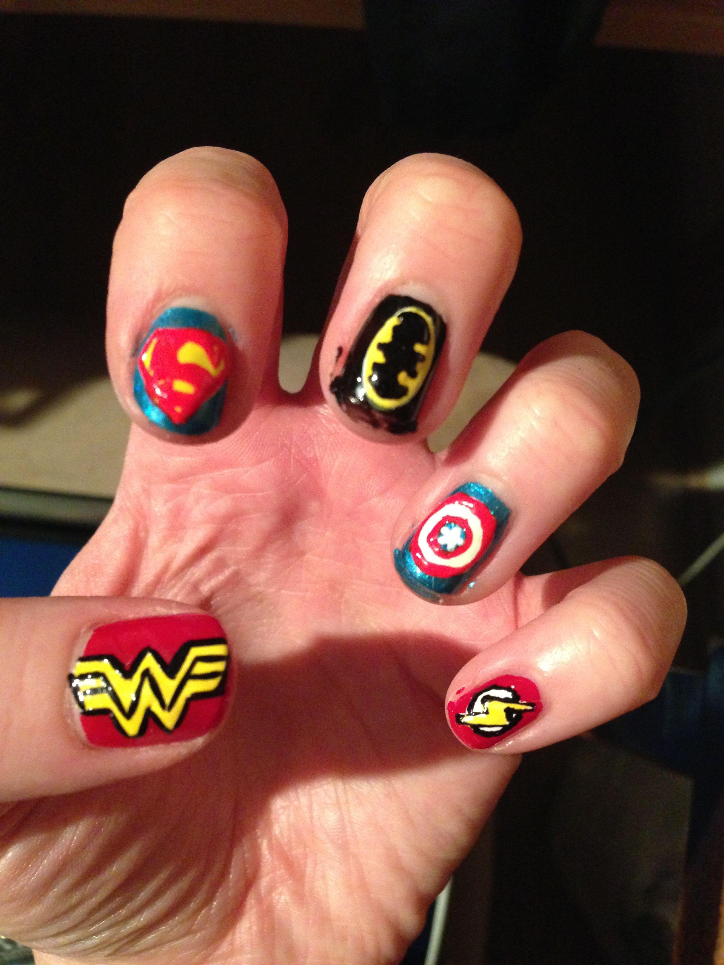 Marvels Superhero Nail Art  superhero nail art  Pinterest