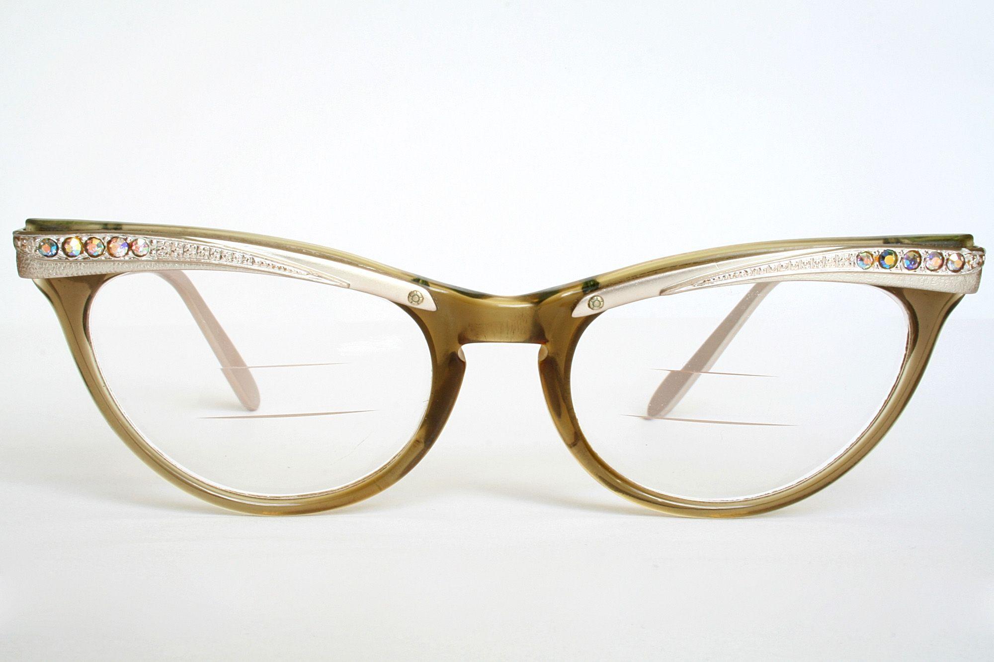 Cat Eye Rhinestone Eyeglass Frames : 1950s Cat Eye Glasses with rhinestones Vintage ...