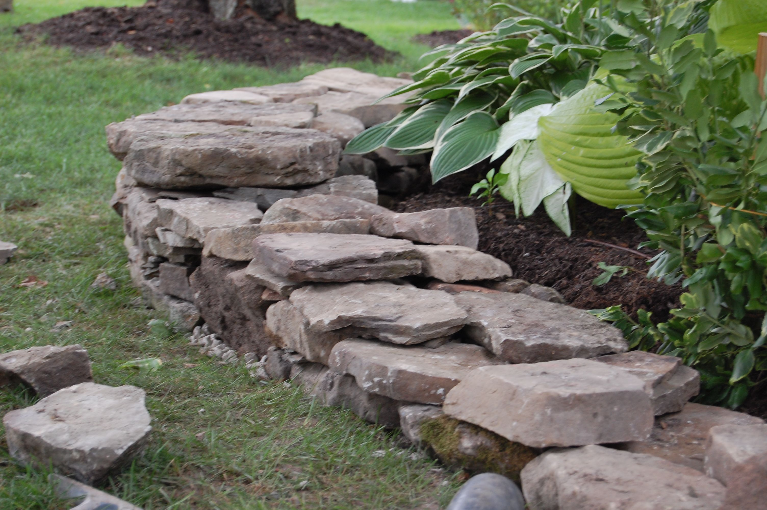 pa field stone wall under construction landscaping