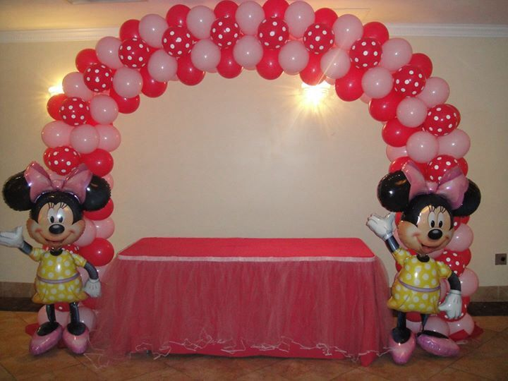 Nanisetc minnie mouse arch balloon decorations pinterest for Balloon decoration minnie mouse