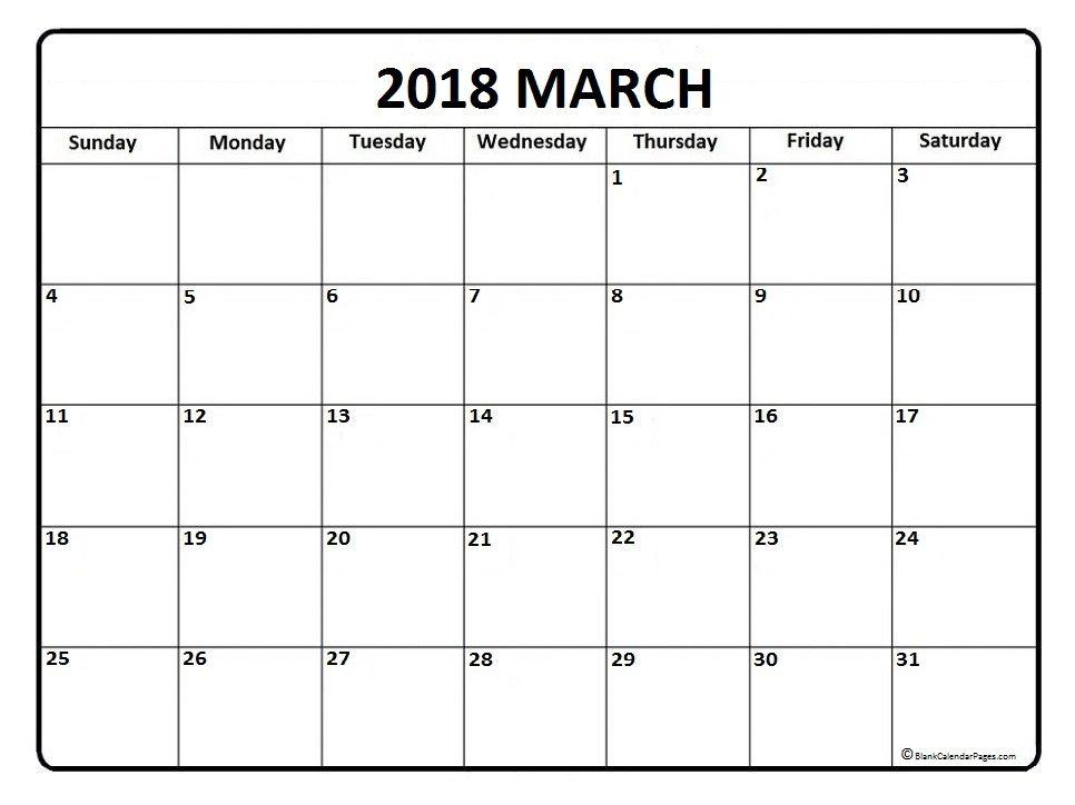 March calendar 2018 printable and free blank calendar   Printable ...