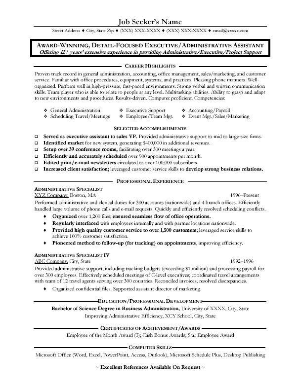 Curriculum Vitae Sample Administrative Assistant