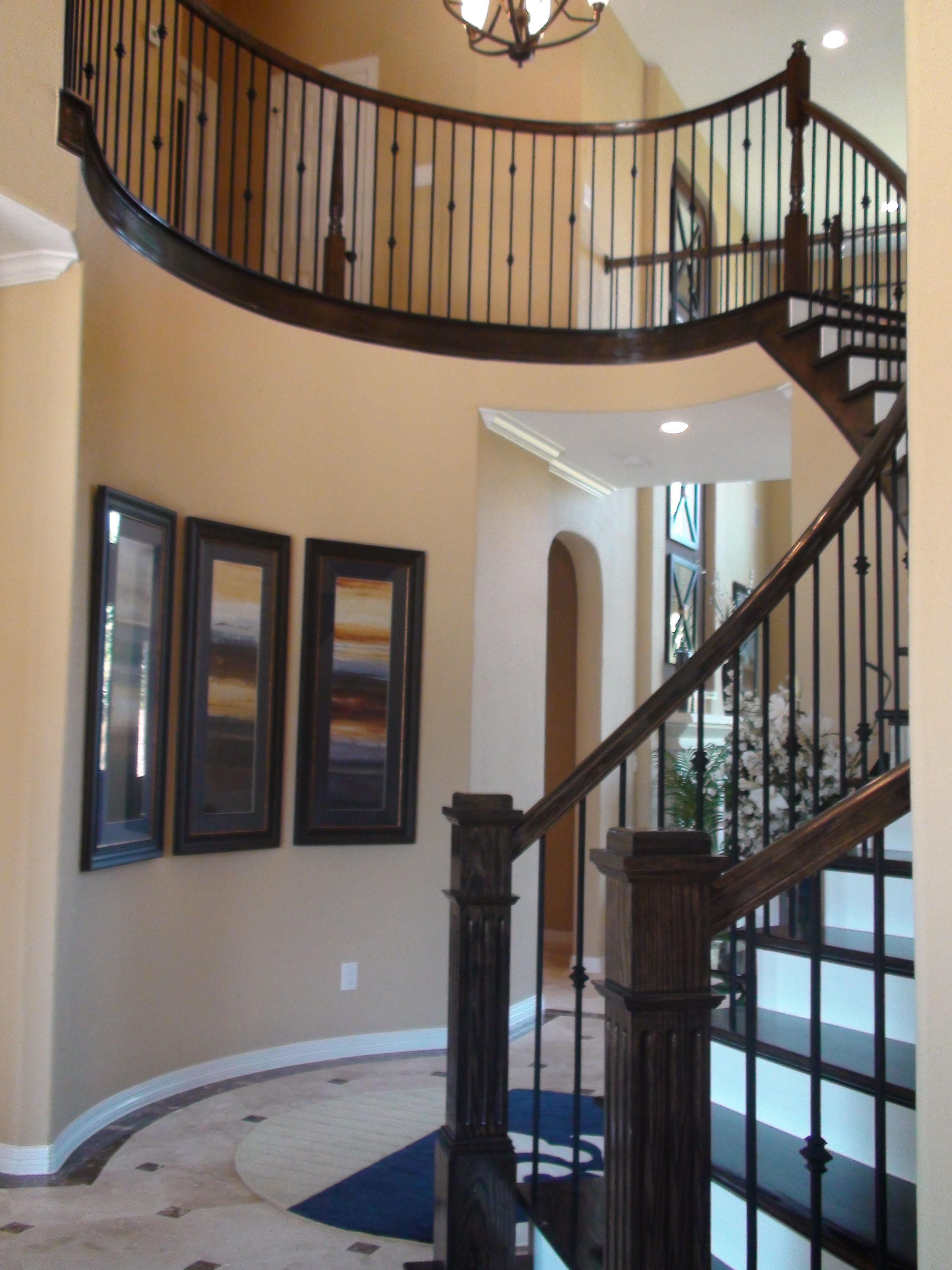 stained stair treads and painted risers for the home. Black Bedroom Furniture Sets. Home Design Ideas