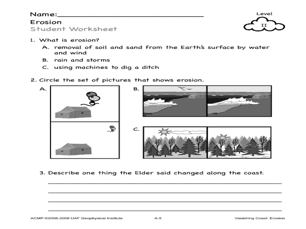 Erosion worksheets free