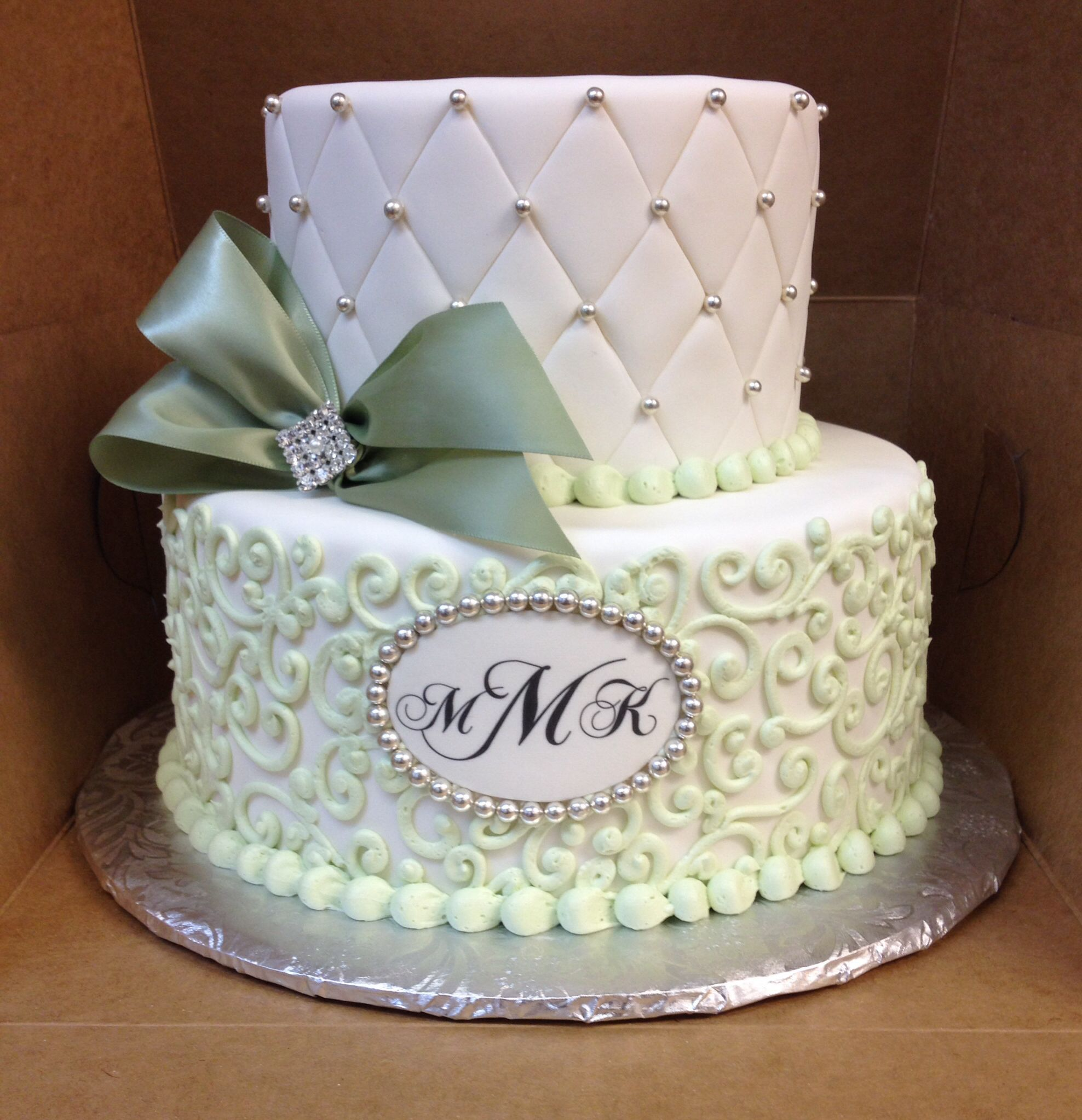 Mint Green And White Cake Wedding Cakes Pinterest