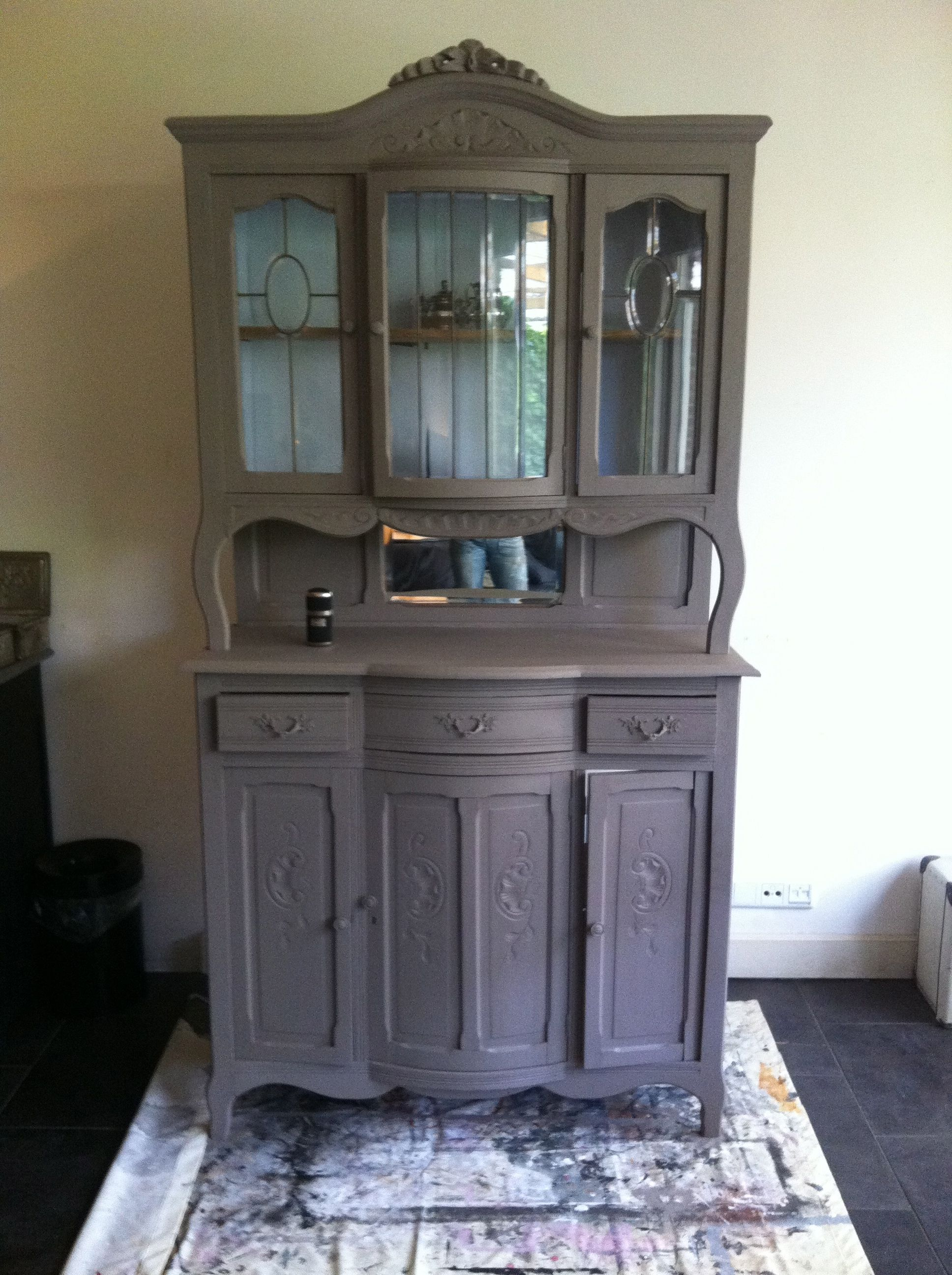 Old Buffet Cabinet Painted In Taupe Funky Furniture