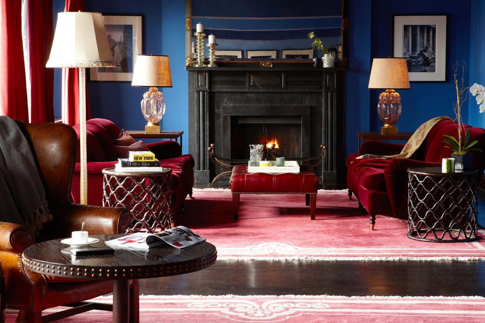 dark blue red living room casa artreche pinterest