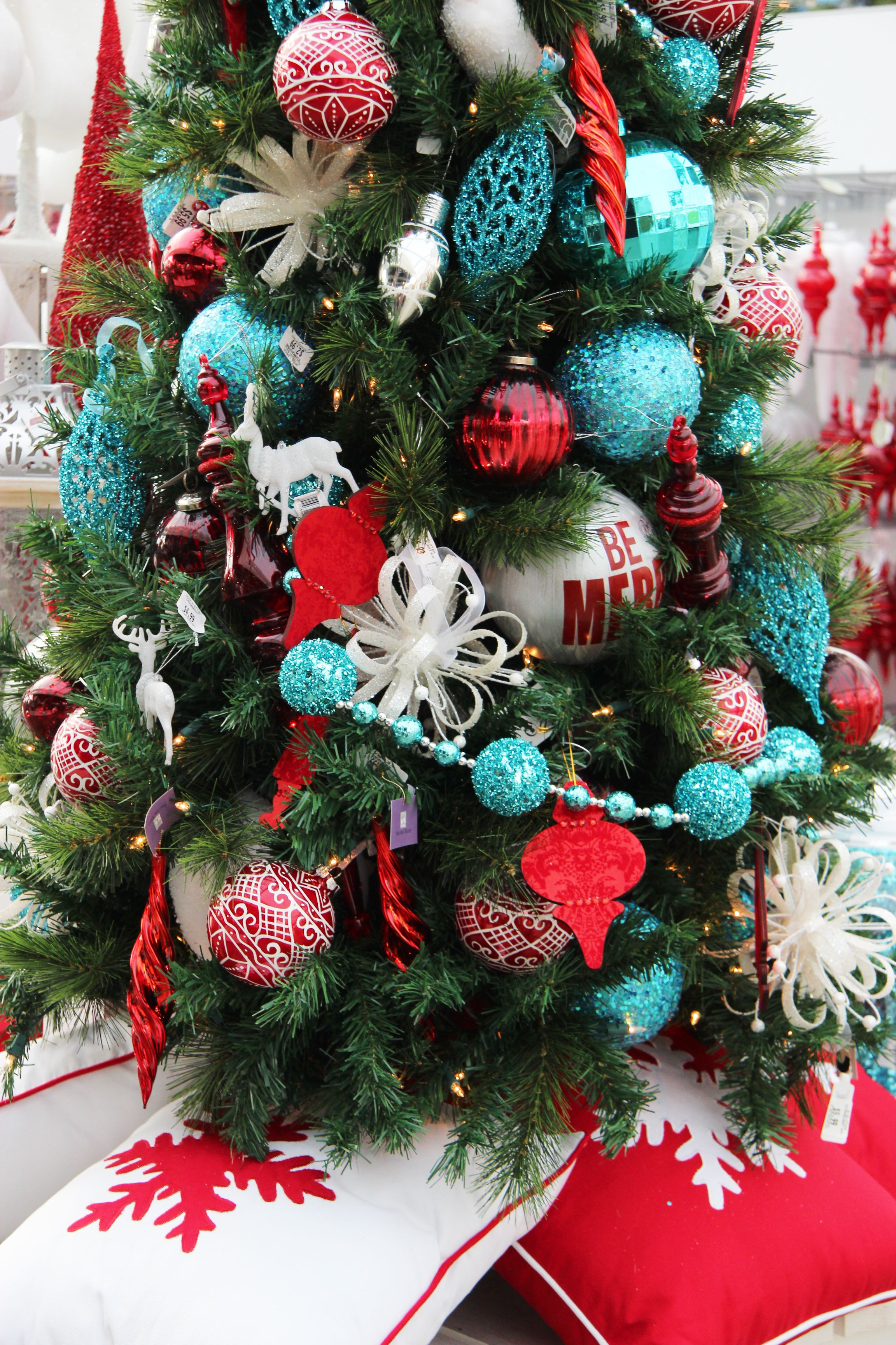 Christmas Tree Aqua Red Christmas Trees Pinterest