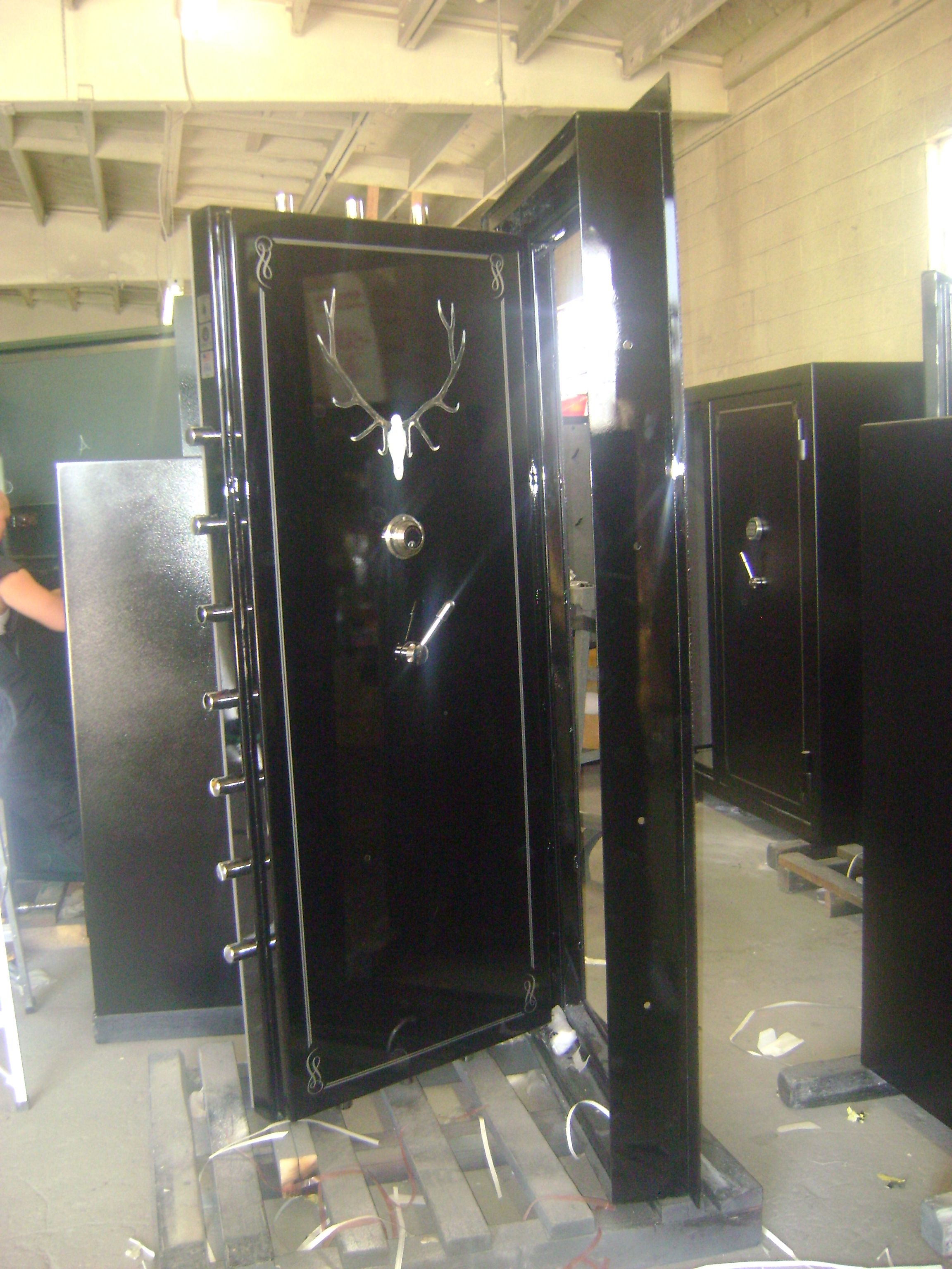 Black high gloss panic room door brad armstrong pinterest for Custom panic room