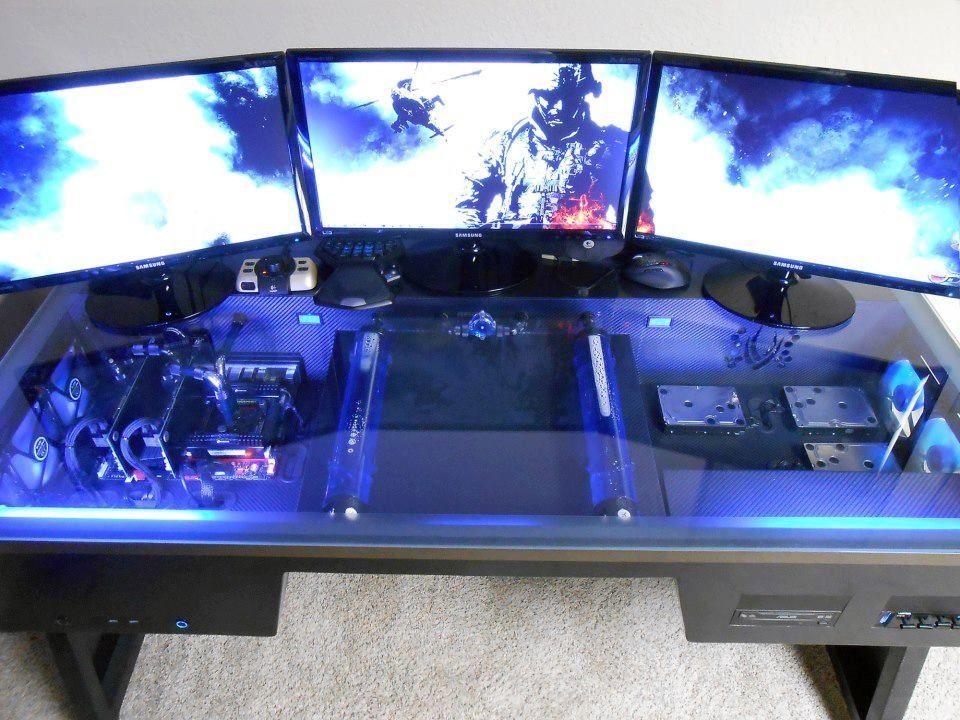 gaming computer inside desk