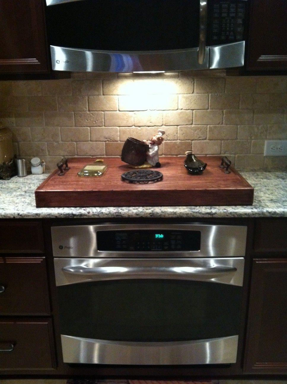 My stove top cover home tour pinterest - Stove backsplash protector ...