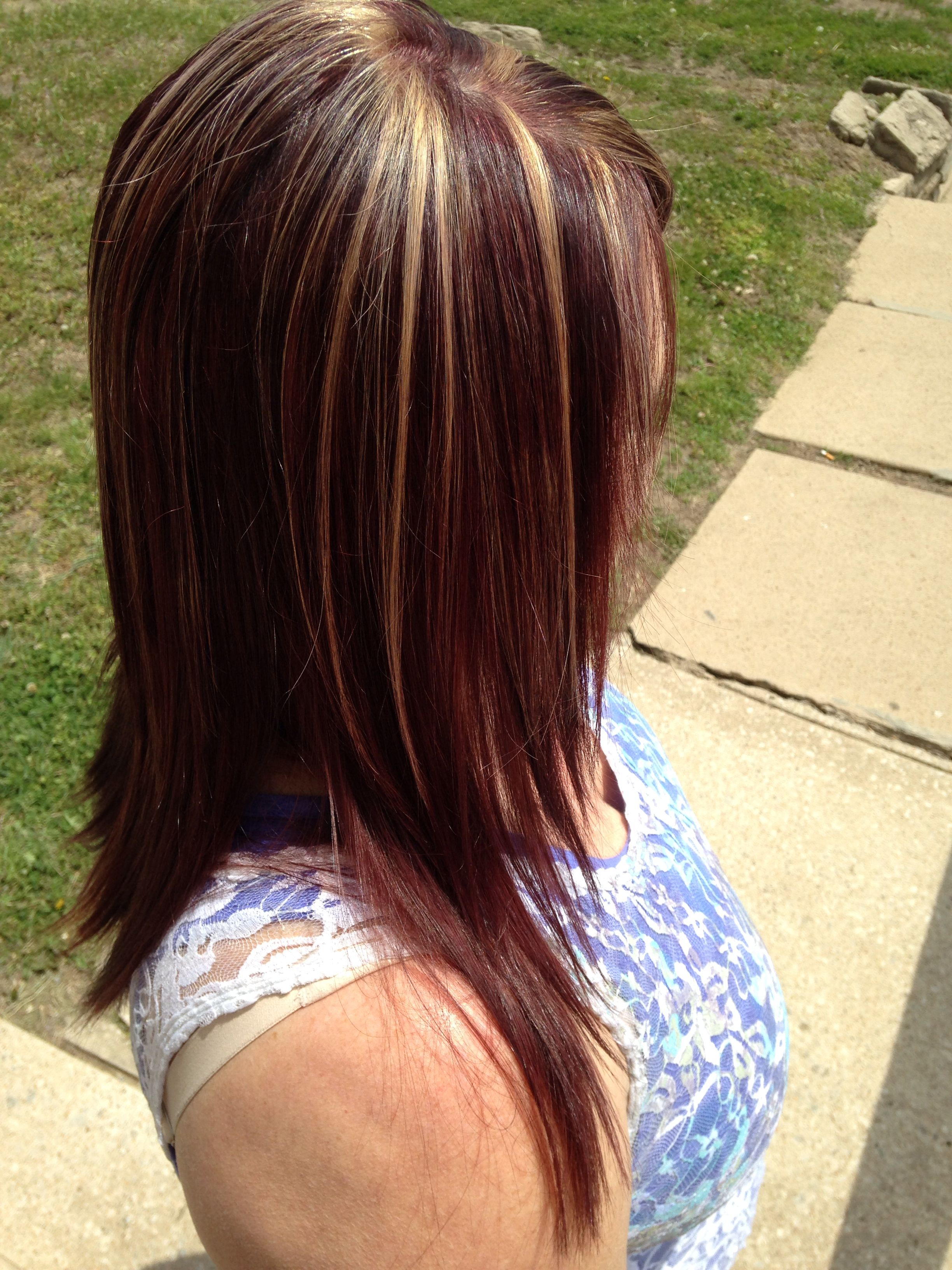 Cherry cola with blonde highlights | Hair and color | Pinterest