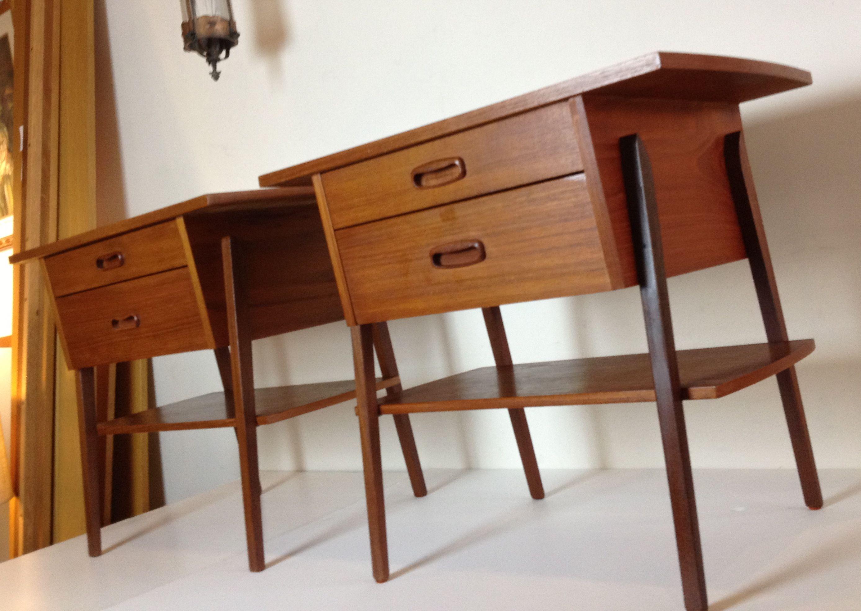 Danish modern furniture - Danish Teak Bedsides Vintage Mid Century Modern Furniture Pintere