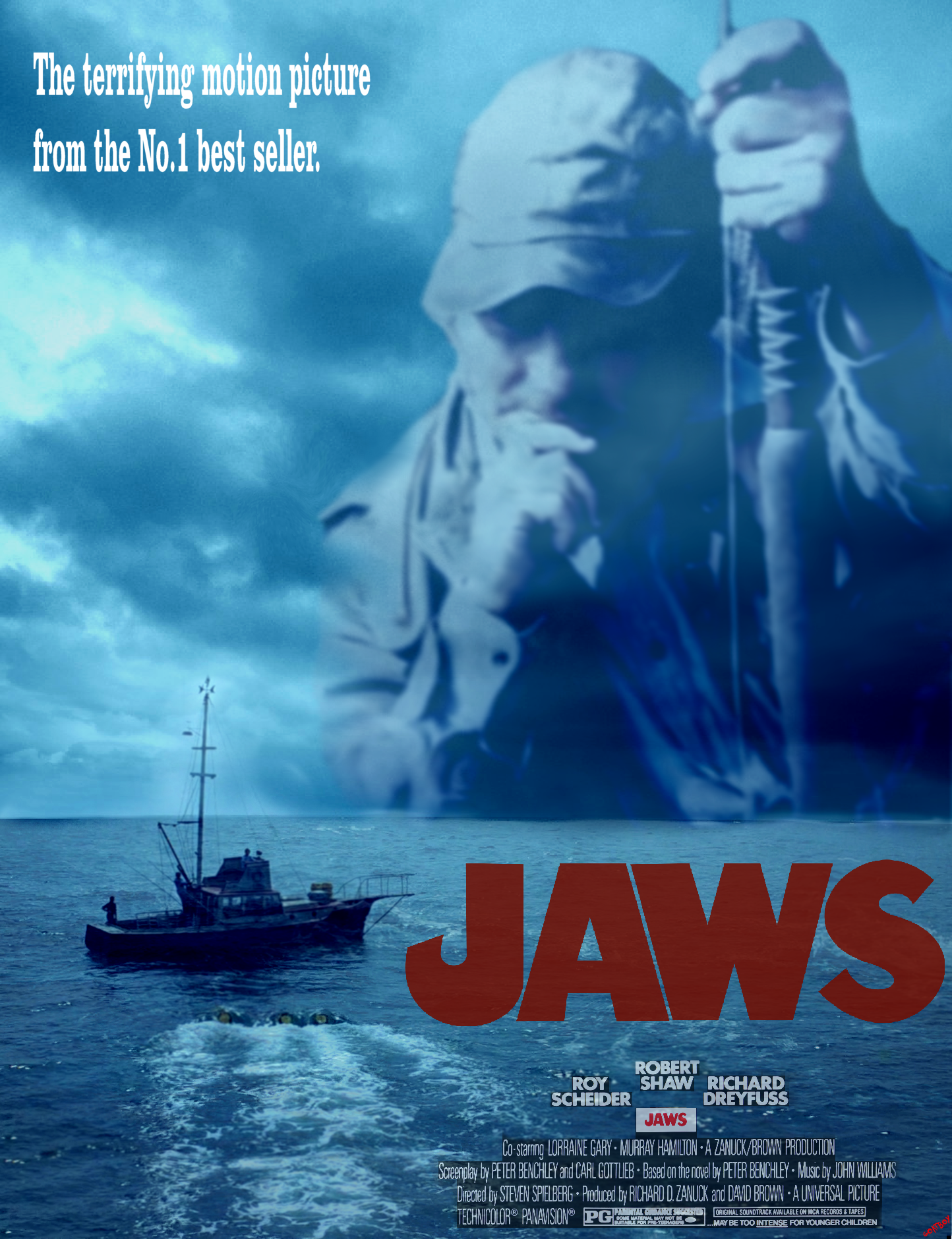 Autographed jaws movie poster