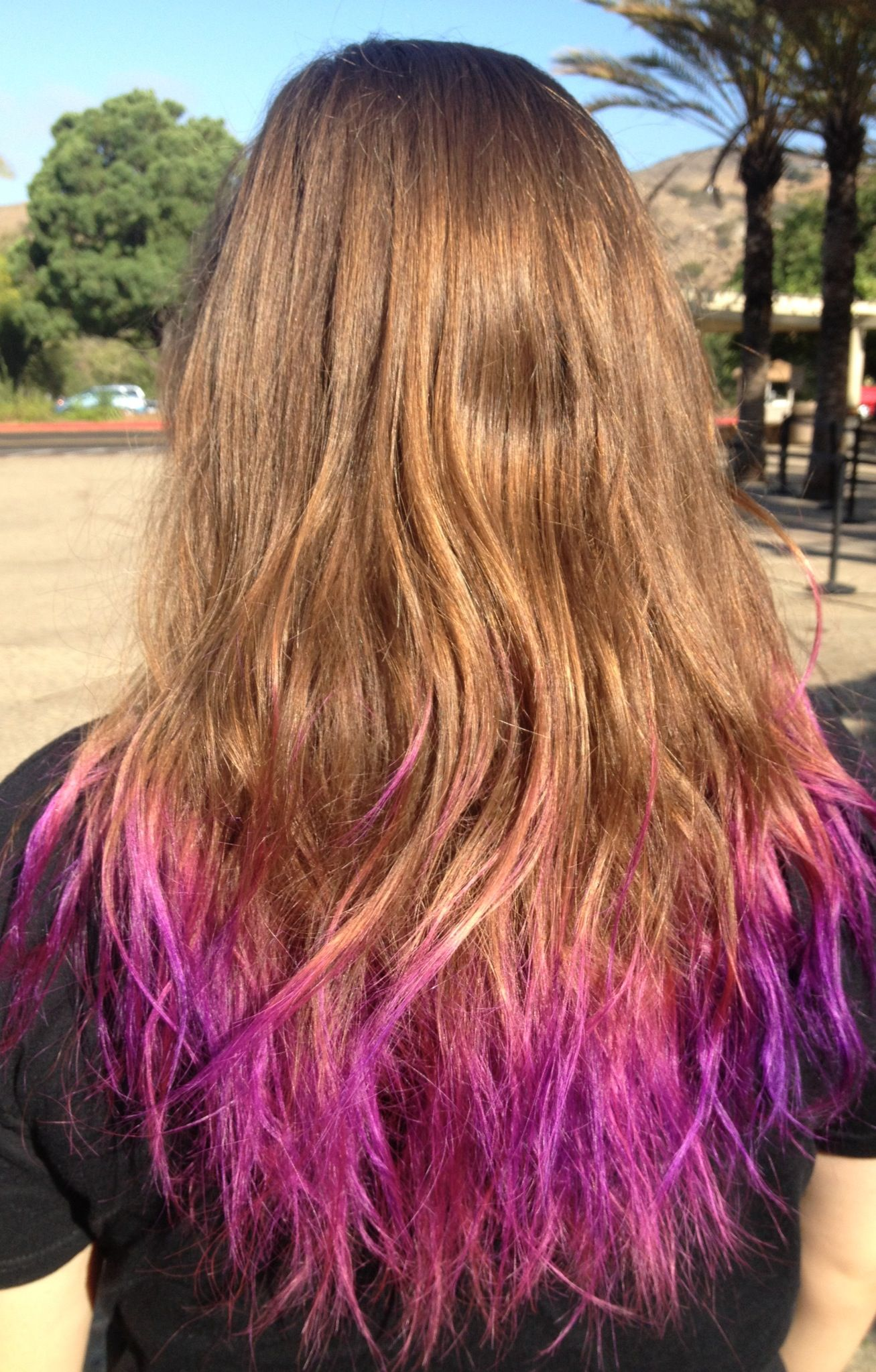Pink and purple tips hair