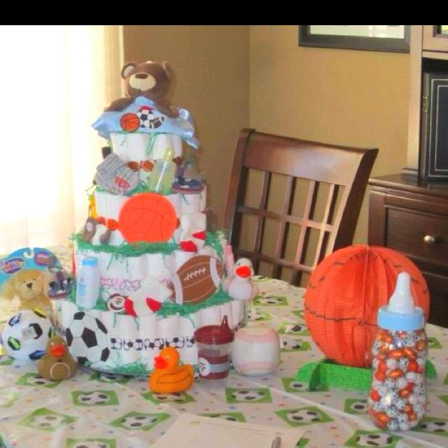 sports themed diaper cake baby shower ideas pinterest