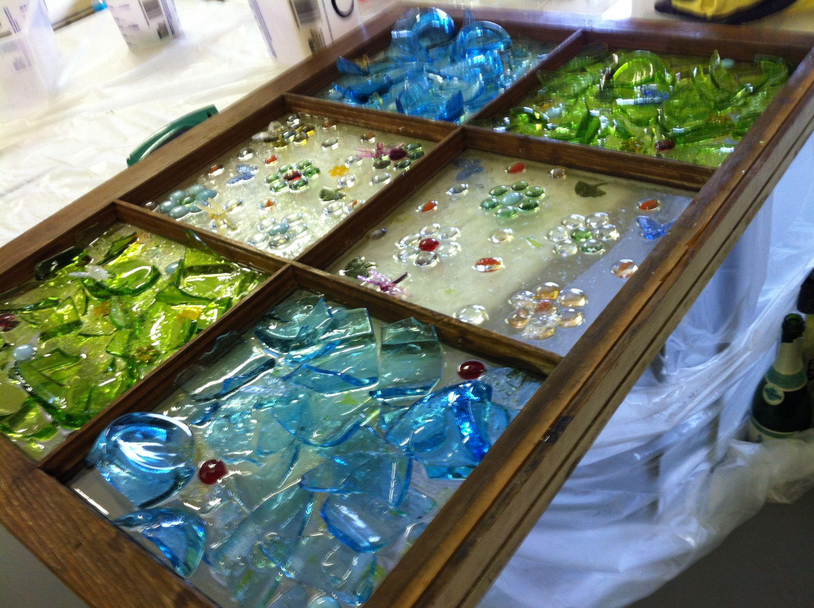 Broken glass window art emmaus pinterest for Broken glass crafts