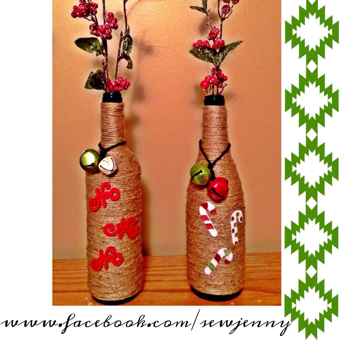 Christmas bottle decorations bottles pinterest for Christmas bottle decoration ideas