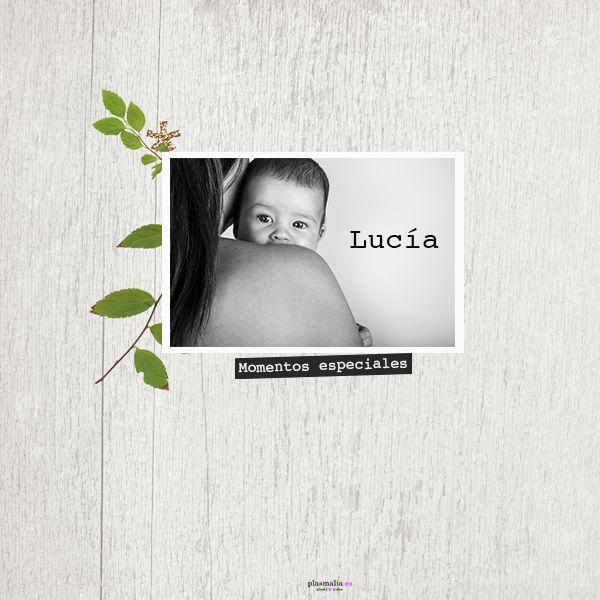 Portada del libro de fotos de Lucía. Una bebé guapisima.