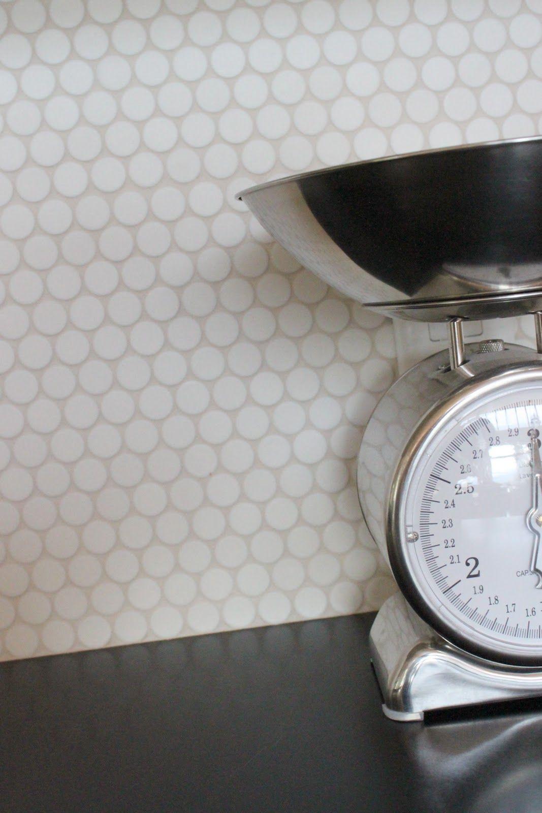 Penny tile in white home pinterest - Penny tile backsplash images ...