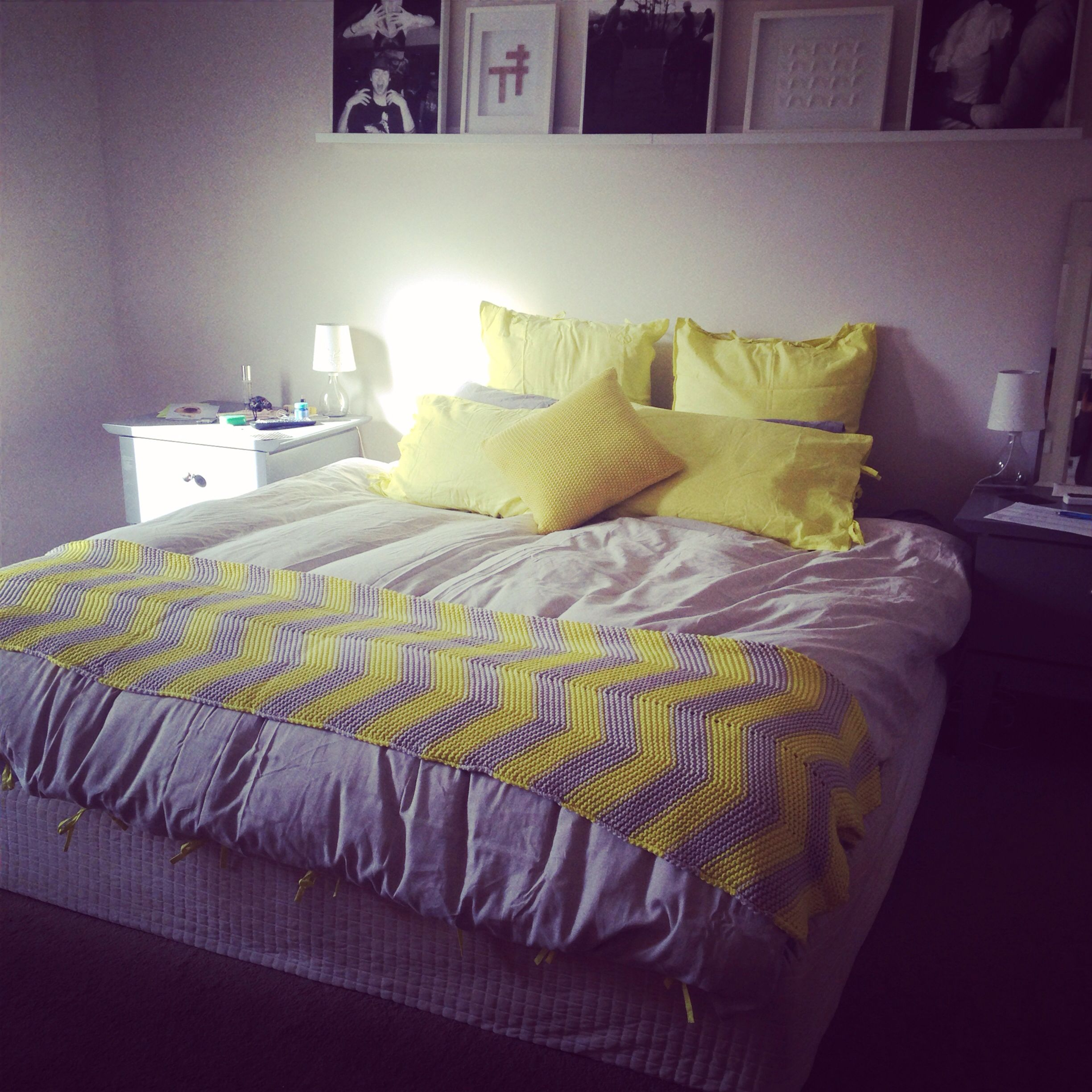 Yellow and grey themed bedroom spread for the home pinterest - Grey themed rooms ...