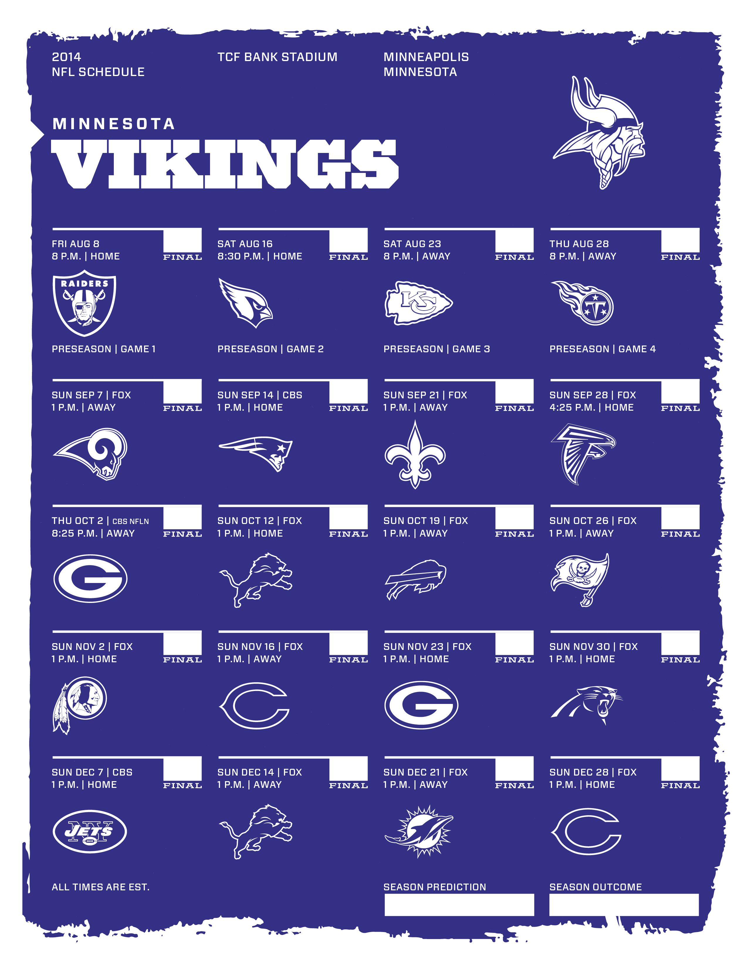 Minnesota Vikings 2014 Schedule Printable | Search Results | Calendar ...