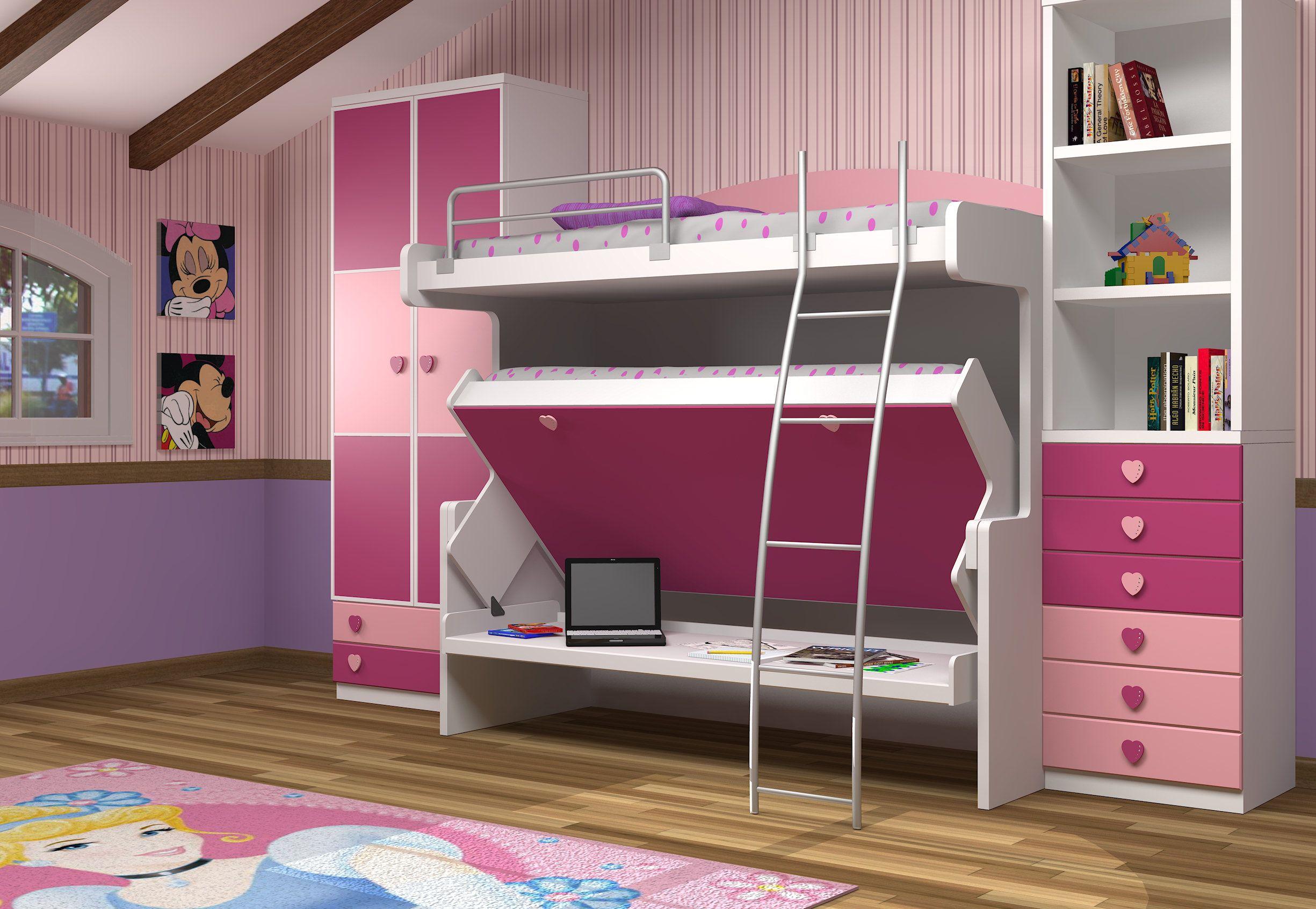 Hiddenbed 39 s double decker desk bed kinderzimmer pinterest - Double decker bed ...