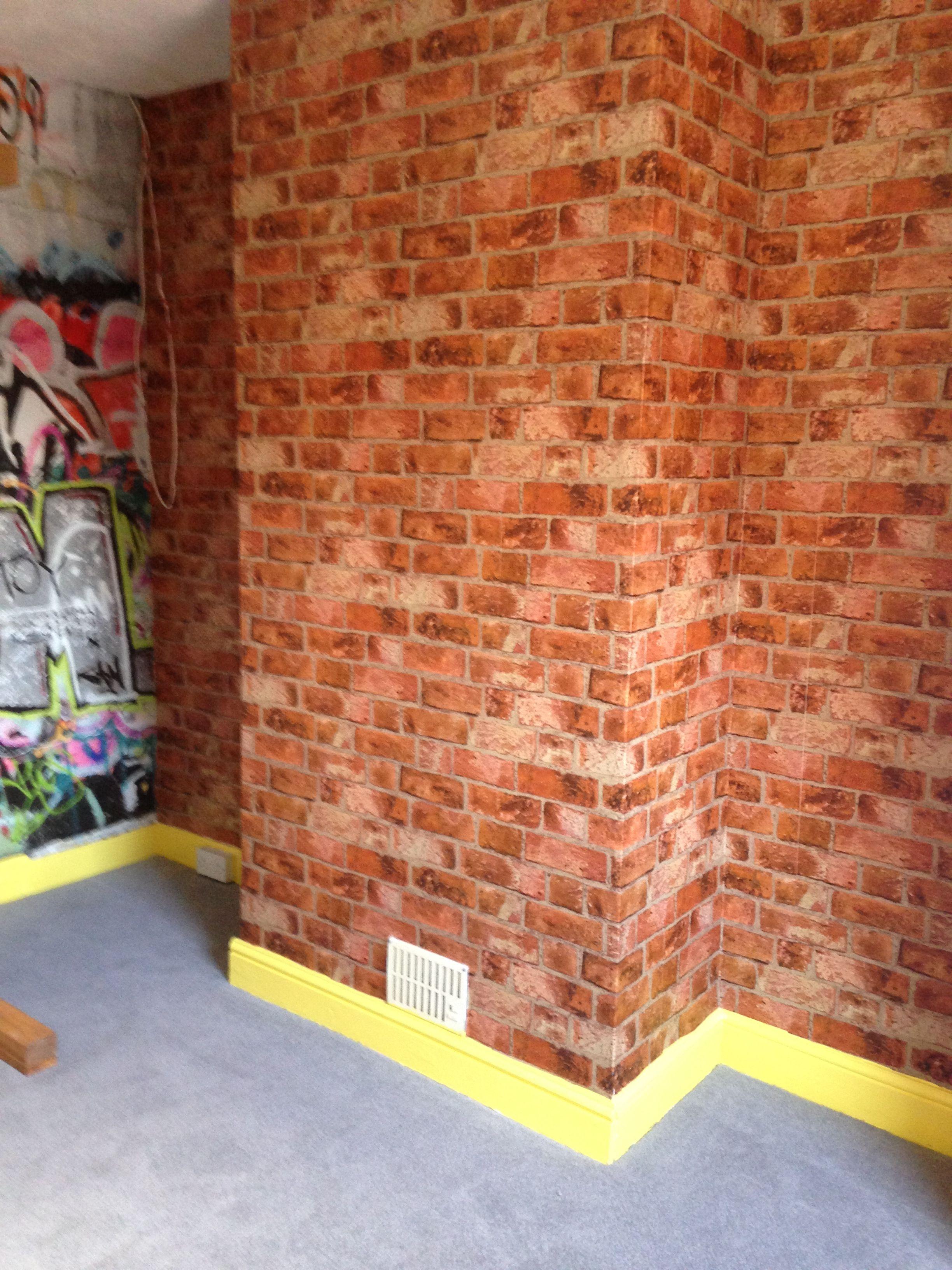 boys bedroom brick wallpaper boys bedroom pinterest