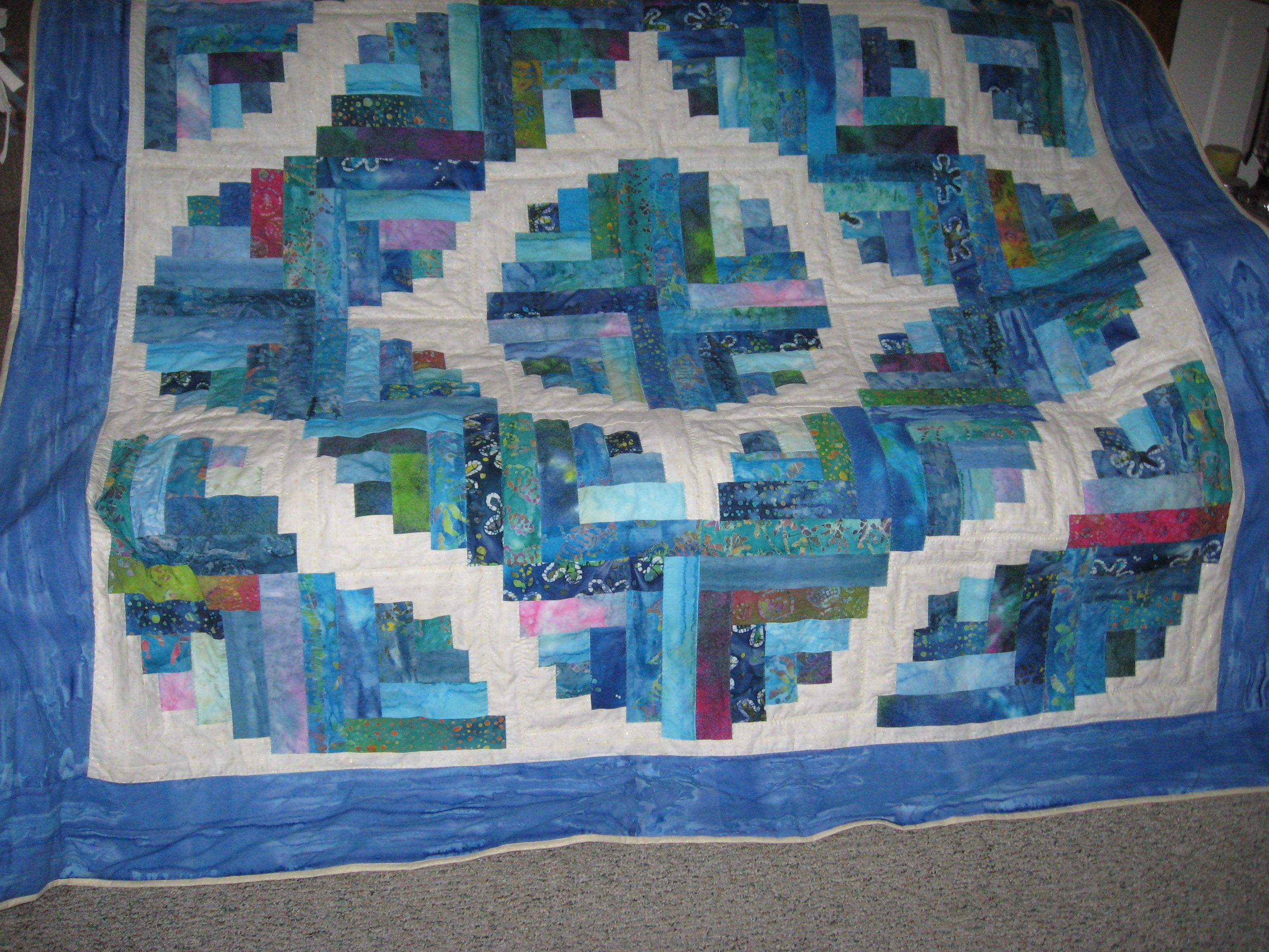 Queen size Jelly roll Quilt. Log Cabin Quilts Pinterest