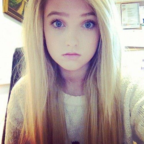 Eyes blonde girl blue hair