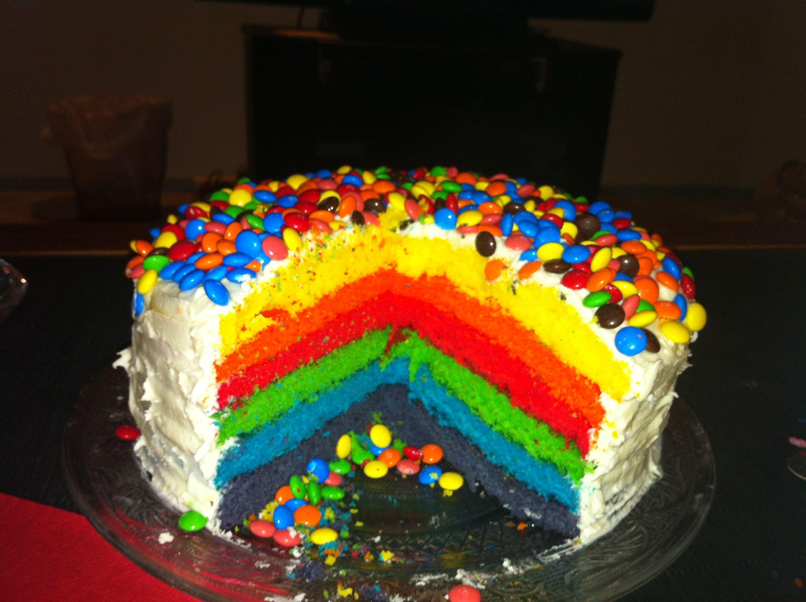 Rainbow layer cake | food & drinks | Pinterest