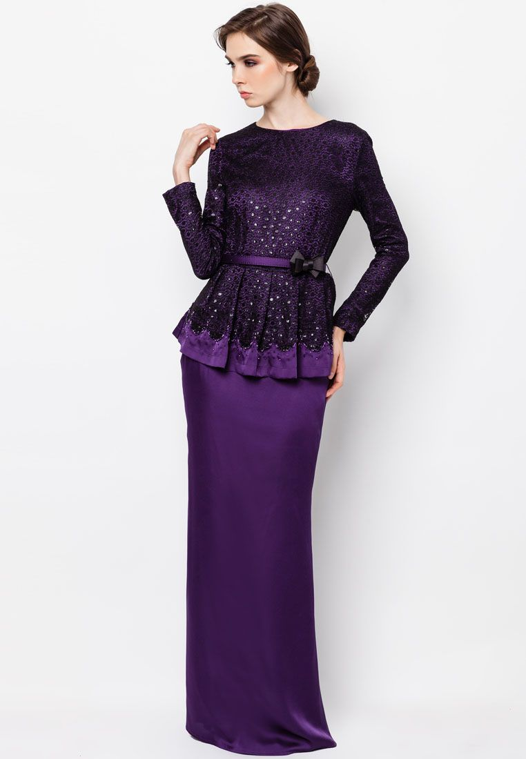 Purple Peplum Baju Kurung | Kebaya & Baju Kurung | Pinterest