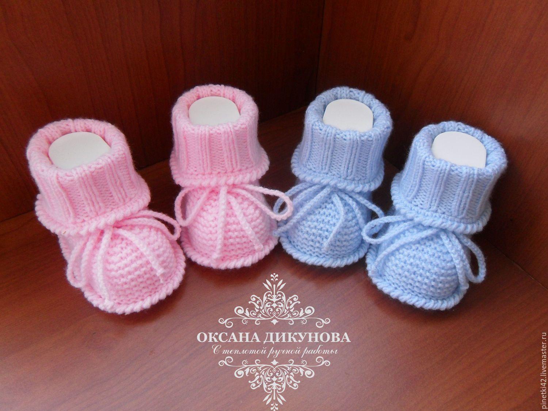 Вязание для новорожденных девочек пинетки спицами 91